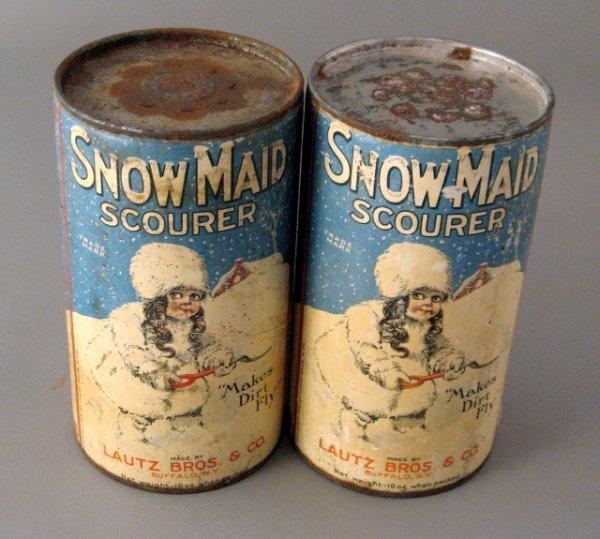 21: 2 1916 Nos Snow Maid Scourer Tins