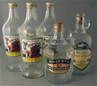 431 6 Vinegar Bottles with Paper Labels