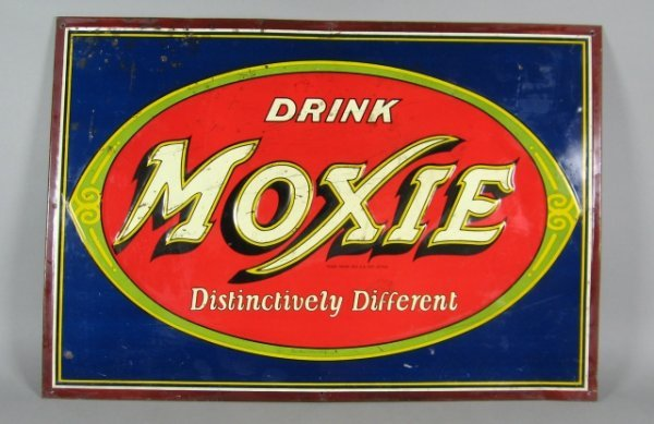 776: Tin Litho Moxie Embossed Store Sign