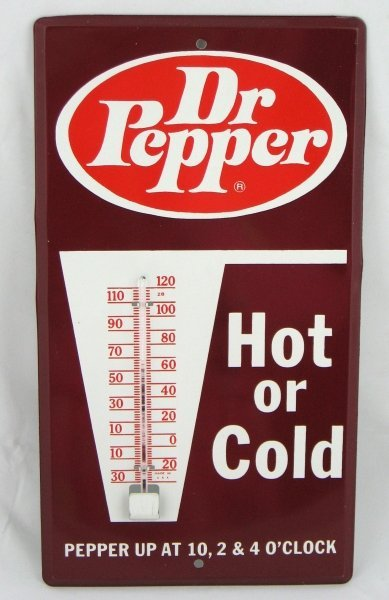 777: NOS Dr. Pepper Tin Advertising Thermometer