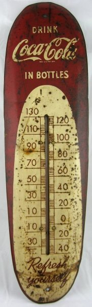 783: Tin Coca-Cola Advertising Thermometer