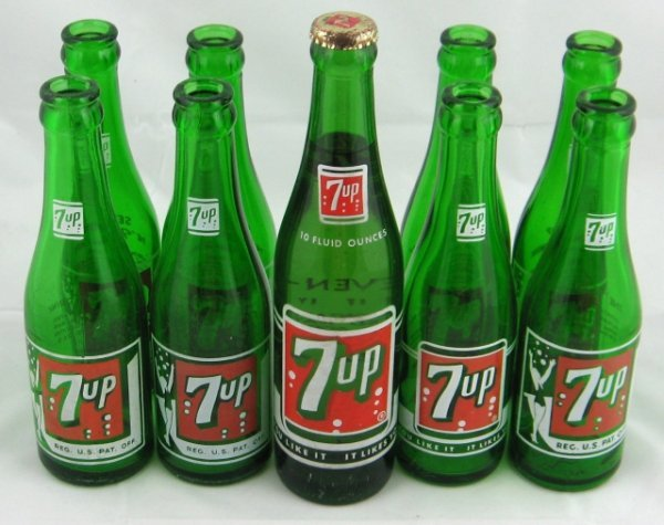 785: 7up Green Bottles & Nos Bottle