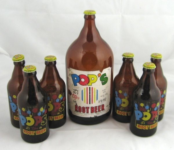 790: Pops Root Beer Soda Bottles