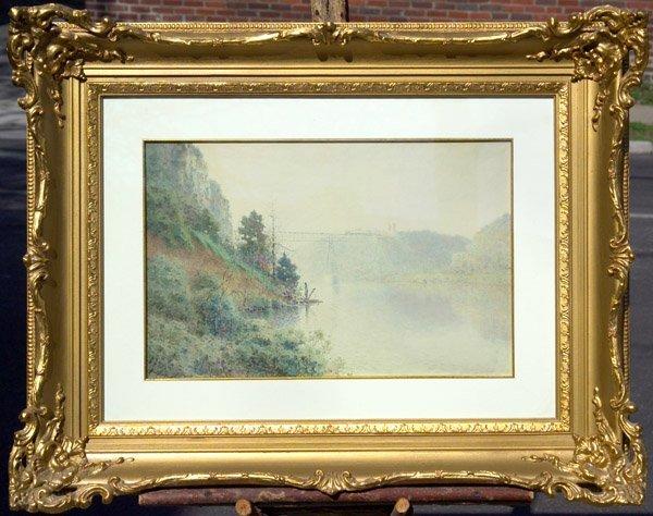 "6: Paul Sawyier watercolor  ""High Bridge"" Kentucky"