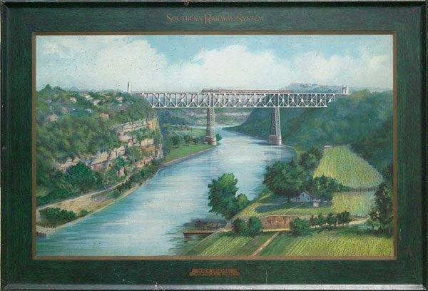 7: c.1915 Railroad High Bridge Kentucky Tin Litho Sign