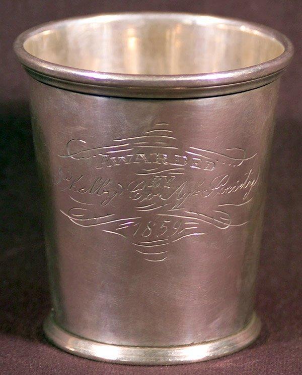 20: 1859 Shelby Co Kentucky Coin Silver Julep Cup