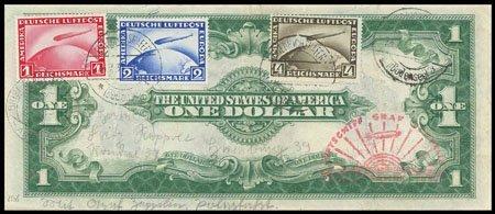 177: Zeppelin 1-4 M. ohne Aufdruck auf US 1-$-Schein na