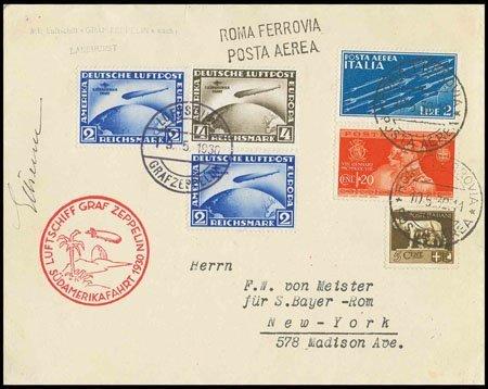 367: Brief mit DR-Zusatzfrankatur Südamerikafahrt 4 M.