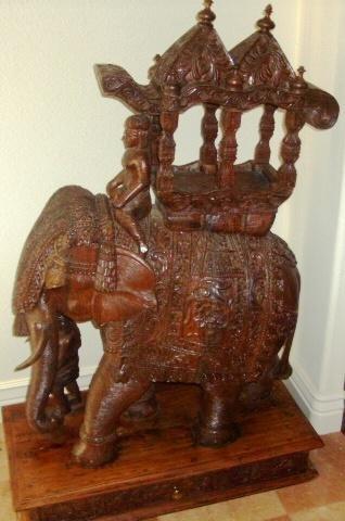 84: 1920's Teak Elephant