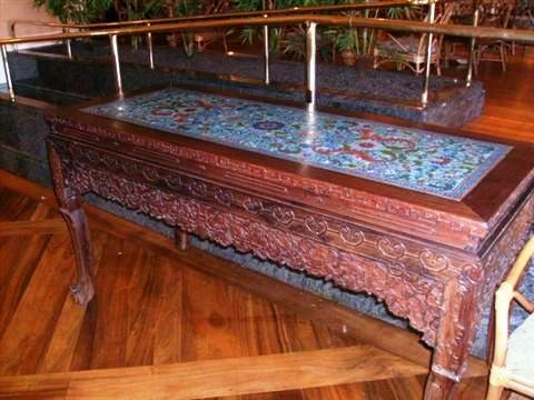501: Antique Asian Carved Mahogany table