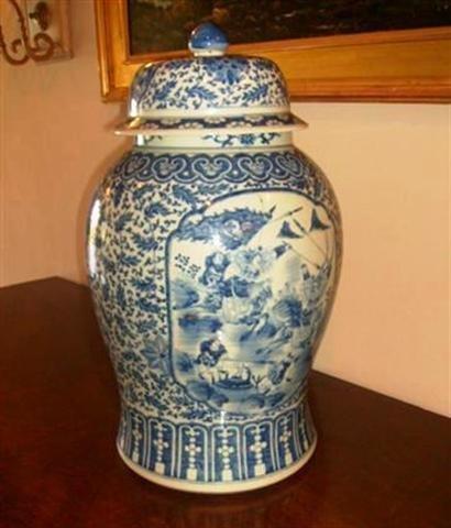 516: Antique Famille Jaune Temple Vase