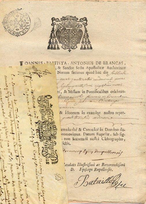 6: ANCIEN REGIME. Jean de BRANCAS (Evêque de La Rochell