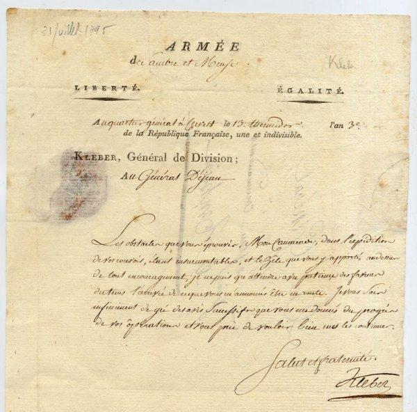 18: Jean-Baptiste KLEBER [1753-1800]. Lettre aut. sign.