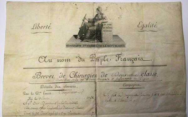 23: BREVET DE CHIRURGIEN de deuxième classe signé BONAP