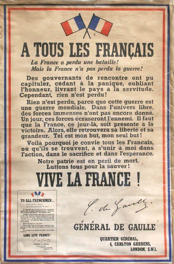 56: APPEL DU 18 JUIN 1940. Affiche originale de Londres