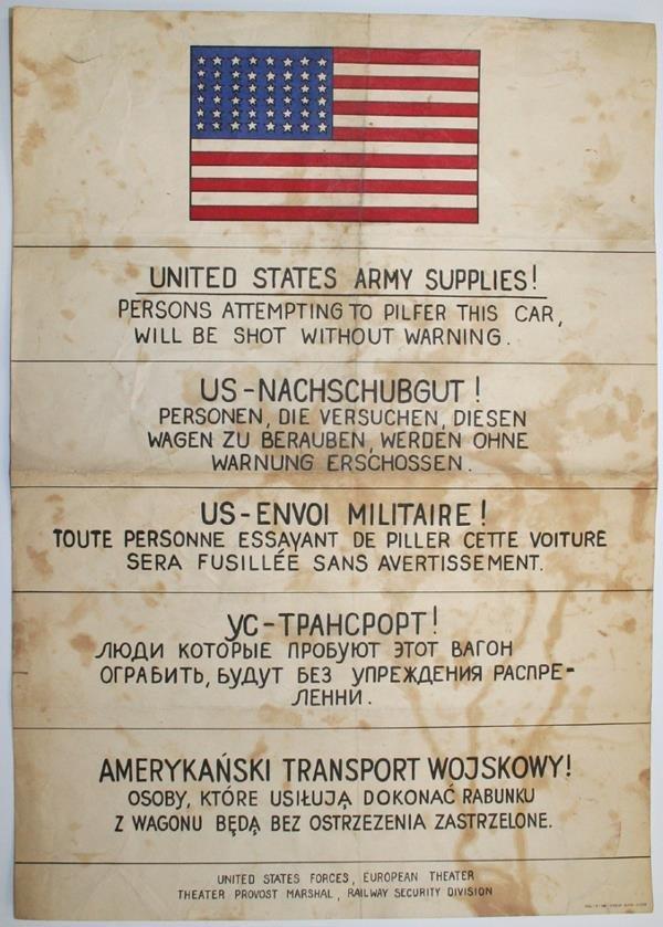 123: Rare affichette américaine, en 5 langues (30x42) a