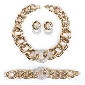 Givenchy haute couture vintage designer parure; gold