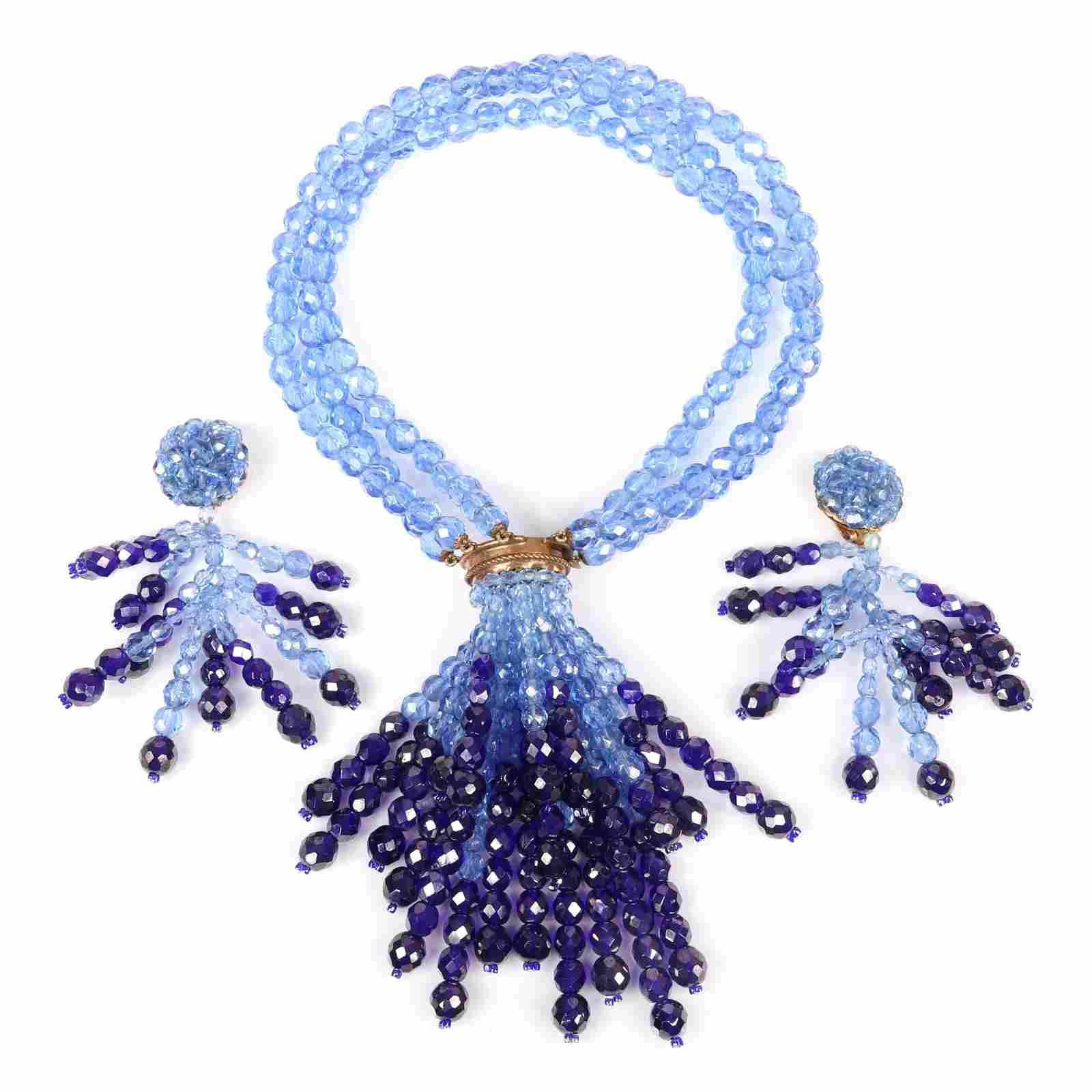 Coppola E Toppo blue ombre multi strand beaded necklace