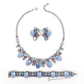 Schiaparelli vintage designer blue lava glass parure;