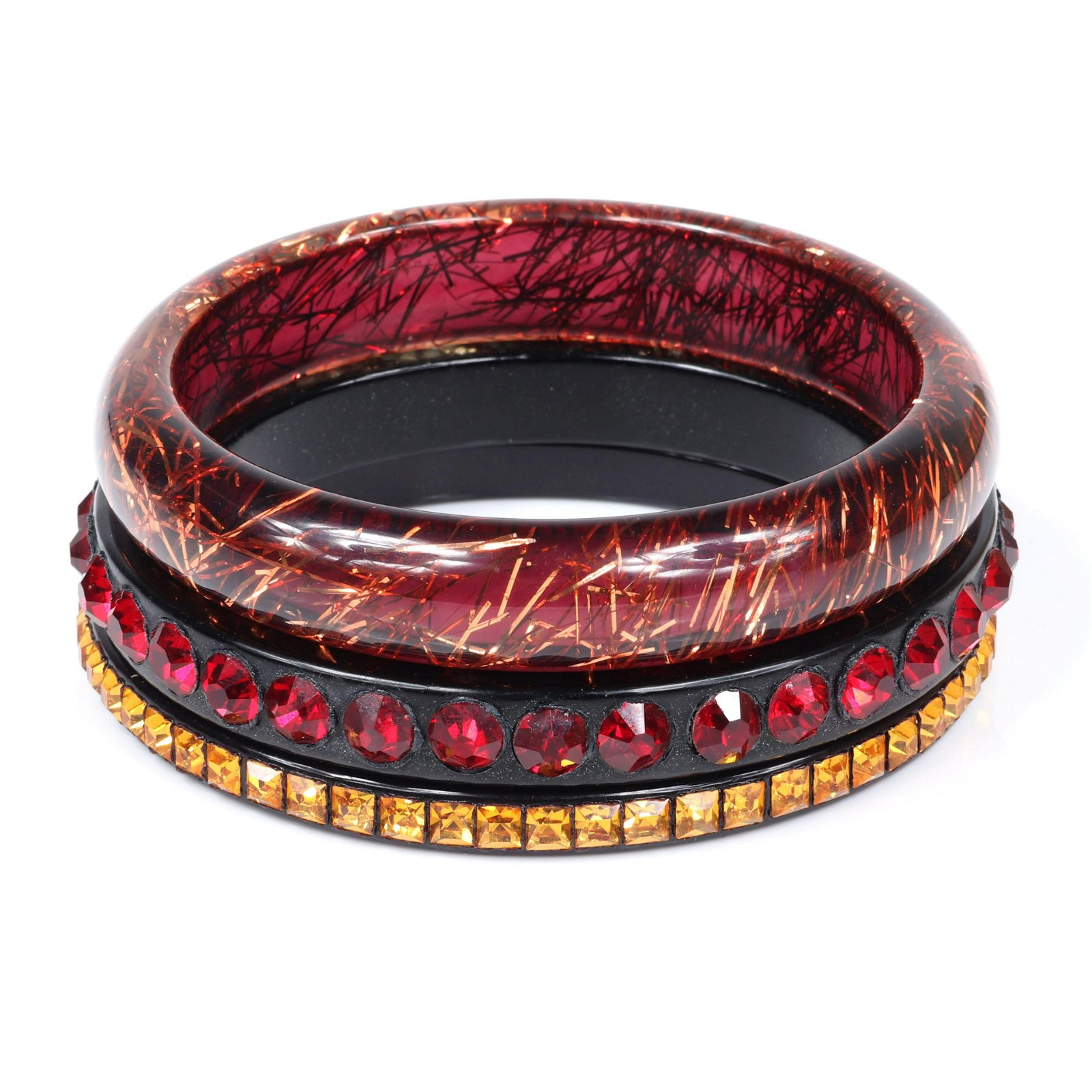 Three vintage designer resin and sparkle bangle