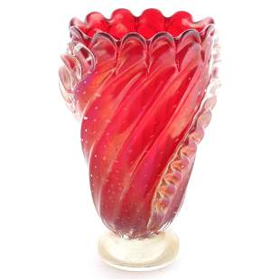 Barovier red Murano art glass vase, red on clear foot