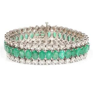 Genuine emerald and diamond 14K white gold three row