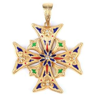 Topazio 18K yellow gold enamel and diamond Maltese