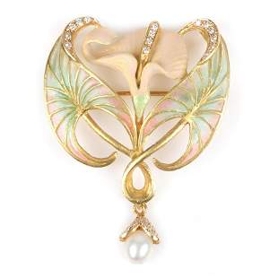 Masriera 18K yellow gold and diamond plique-a-jour Art