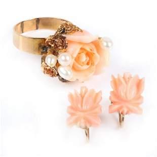 Carved angel skin coral rose flower 18K gold ring and