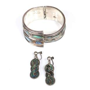 Taxco Mexican modernist sterling silver and inlaid