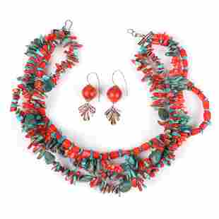 Native American Indian turquoise and red coral triple