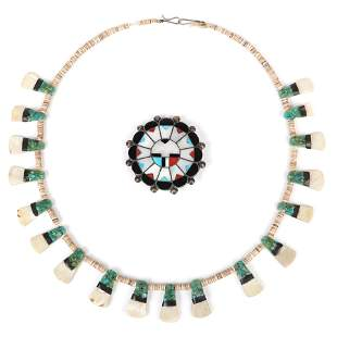 Native American Indian heishi bead necklace with shell
