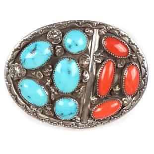 Vintage Navajo Native American sterling silver belt