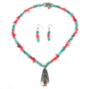 Native American Indian turquoise and red coral nugget