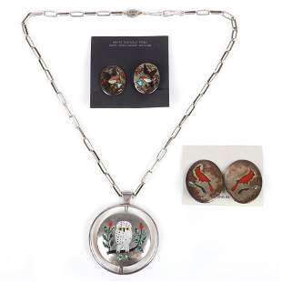 Three Native American Indian sterling silver inlaid