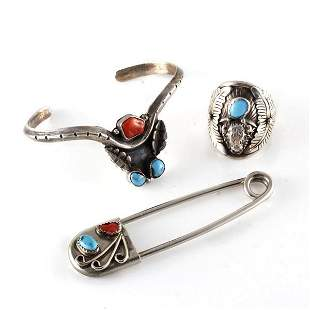 Three pc Native American sterling silver, coral and