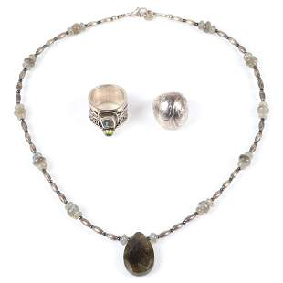 Sterling and stone 3pc group: MER necklace with silver
