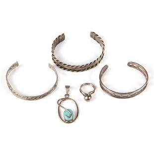 Sterling designer and Mexican silver 5pc group: Mexican