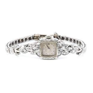 Ladies antique Art Deco Hamilton 14K white gold and