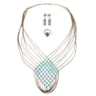 Sterling and turquoise 3pc group: woven liquid silver