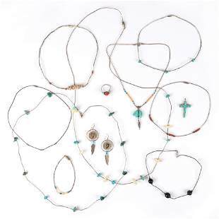 Native American Indian silver, turquoise, coral, stone