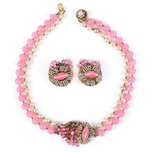 Miriam Haskell 2pc set: choker necklace with double