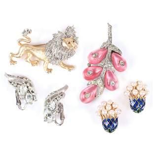 Trifari 4pc group: Crown Trifari faux pearl & enamel