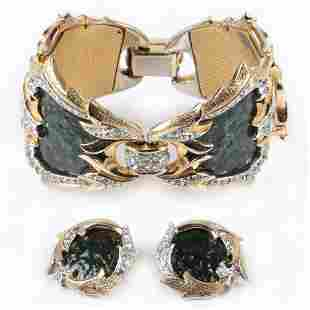 MB Boucher brushed gold tone bracelet and earring set