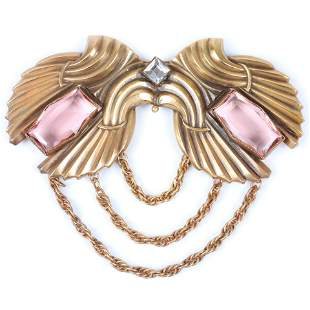 Joseff of Hollywood LARGE Art Deco Victory Wings brooch