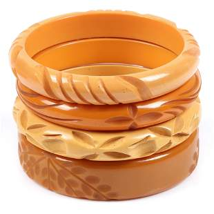 Bakelite four deeply carved butterscotch bangle
