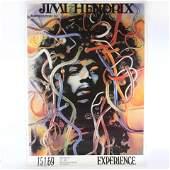 Vintage Jimi Hendrix 1969 Retail Concert Poster