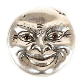 Figural silver Man in the Full Moon form match safe /