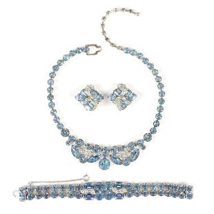 Eisenberg 3pc. blue crystal parure group: Necklace with