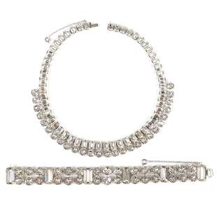 Eisenberg 1940s diamante necklace with 53 emerald-cut &